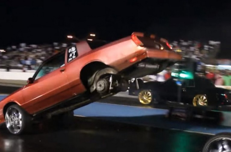 Video: Grudge G-Body Loses Rear Wheels, Does Reverse Wheelstand!